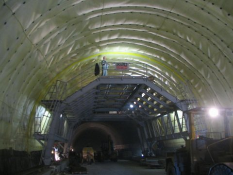 Tunnel Blanka - installing of grouting hose system, Prague.